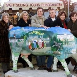 "Actors who played the children of the Trapp family in the legendary movie ""The Sound of Music"" pose in Salzburg on November 1, 2000. (from left) Kym Gareth (Gretl), Charmian Carr (Liesl) (2nd L) , Angela Cartwright (Brigitta), Nicholas Hammond (Friedrich), Duane Chase (Kurt), Debbie Thurner (Martha) and Heather Menzis (Louisa) were re-united on the original film sets for a British television production 35 years after the movie was shot in the west Austrian province."