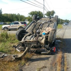 90-year-old man hospitalized after rollover in Lee