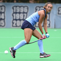 Kristy Bernatchez of Belgrade competes for the University of North Carolina in this photo. The former Messalonskee High School star made a rare competitive return to Maine on Sunday when the top-ranked Tar Heels played the University of Maine in Orono.
