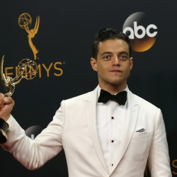 "Actor Rami Malek poses backstage with his award for Outstanding Lead Actor In A Drama Series for USA Network's ""Mr. Robot"" at the 68th Primetime Emmy Awards in Los Angeles on Sunday."