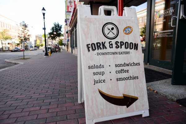 Fork & Spoon, a downtown eatery on Main Street in Bangor, serves freshly baked breads and pastries daily.