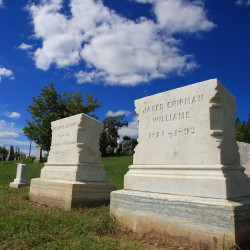 The grave markers of Jewett Williams' ancestors, which have been restored in preparation for the return of the Civil War veteran's remains from Oregon to the family burial site, can be seen Sept. 16 in Hodgdon.