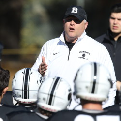Bowdoin College head football coach J.B. Wells addresses the Polar Bears during a game in 2015. Bowdoin opens its 125th gridiron season on Saturday with a NESCAC contest at Middlebury.