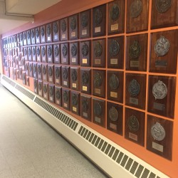 """Brewer High's athletic trophies have returned to a """"Wall of Champions"""" after construction at the school."""