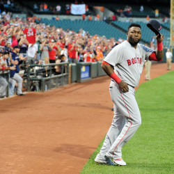 Red Sox designated hitter David Ortiz (34) waves to the crowd prior to the game against the Baltimore Orioles at Oriole Park at Camden Yards in Baltimore Thursday night.