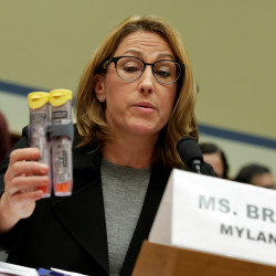 Mylan NL CEO Heather Bresch holds EpiPens during a House Oversight and Government Reform Committee hearing on the Rising Price of EpiPens at the Capitol in Washington, D.C., September 21, 2016.