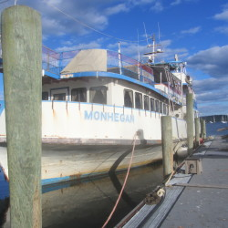 The former ferry and floating restaurant Monhegan is tied up to a Rockland dock Saturday after it broke loose from its mooring.