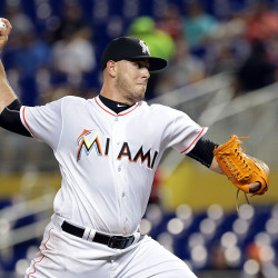 The Miami Marlins' Jose Fernandez pitches in the first inning against the Los Angeles Dodgers at Marlins Park in Miami, Sept. 9, 2016.