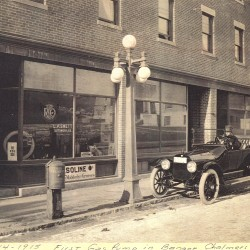 The first sidewalk gas pump in Bangor appeared in front of L.P. Swett's automobile dealership at 106 Harlow St. Swett offered to sell gasoline at 20 cents a gallon to every customer who bought one of his Reo or Hudson autos between April 24 and Oct. 24, 1916.