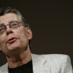 Author Stephen King speaks at a news conference to introduce the new Amazon Kindle 2 in New York, Feb. 9, 2009.