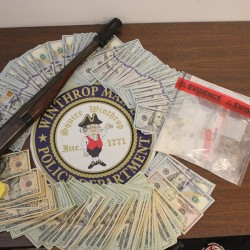 Cash, a shotgun and heroin were seized in a drug bust in Winthrop that landed three men in jail.