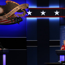 Democrat Hillary Clinton (right) and Republican Donald Trump speak during their first presidential debate on Monday, Sept. 26, 2016, in Hempstead, New York.
