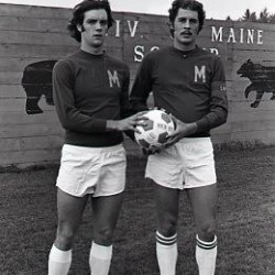 "Edward ""Ted"" Woodbrey II of Gorham (right) is the only men's soccer player in University of Maine history to twice earn All-Yankee Conference recognition. He will be inducted posthumously into the UMaine Sports Hall of Fame on Friday."