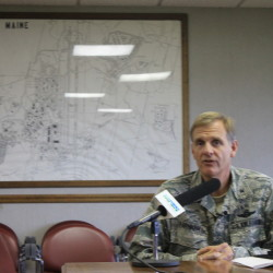 Brig. Gen. Douglas Farnham, adjutant general of the Maine National Guard, speaking at a press conference on the Maine Military Authority's contract with the Massachusetts Bay Transportation Authority at the Loring Commerce Centre in Limestone.