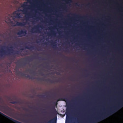 SpaceX CEO Elon Musk unveils his plans to colonize Mars during the International Astronautical Congress in Guadalajara, Mexico, Sept. 27.