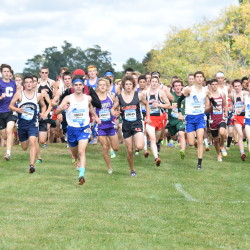 Runners in the seeded boys race at the 2015 Maine Cross Country Festival of Champions pulls off the starting line at Troy Howard Middle School in Belfast. The 15th running of the state's premier high school event is scheduled for Saturday.