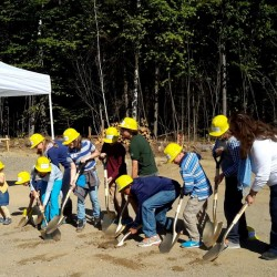 On Sept. 16, 2016 children from Cornerspring Montessori School participated in a ceremonial groundbreaking for their new Passive House school building in front of a gathering of 40 parents, campaign donors, Belfast city and elected officials and members of the business community. Left to right, Cornerspring Montessori teacher Becca Couch with Leila Fowler, Turner Albee, Iris Carpenter, Gillian Field, Vito Scappaticci, Adam Tomalty, Liam O'Malia, Sam Field, Owen Tomalty, Alder Michaud-Griswold and teacher and Cindy Scappaticci.
