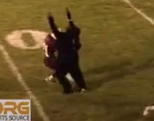 During the third quarter of a Class A North clash between Edward Little High School and Bangor at Walton Field in Auburn, what appeared to be a teenage girl in a gorilla costume darted onto the field on a pass thrown by Rams quarterback Gary Farnham.