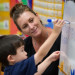 Kindergarten teacher Terri Lowe with student Tristan Kobayashi at Foulks Ranch Elementary School in Elk Grove, California, on Aug. 28, 2012.