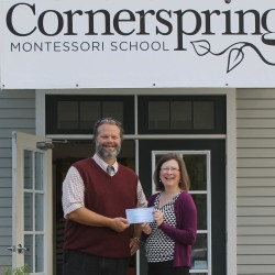 Matt Griswold presented a check from the Griswold Family Foundation for $25,000 recently to the Head of School, Susan Beemer at Cornerspring Montessori School in Belfast, ME. The $25,000 contribution represents a 1:1 matching grant offered by the Foundation earlier this year for the Journey Home campaign, in support of the project to build the first Passive House Montessori school in Maine. The matching grant helped to secure an additional $50,000 for the campaign.
