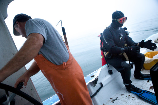 Clint Richardson dons his drysuit while his urchin fishing partner, Joe Leask, pilots their boat across Wheeler Bay, off St. George. After reaching a secret spot, the pair spent the morning harvesting their daily limit of 12 crates.