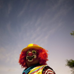 A clown is seen during celebrations on the International Day of the Clown in Cancun Dec. 10, 2012.
