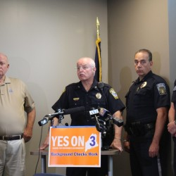 In the company of other law enforcement leaders, South Portland police Chief Ed Googins announced the Maine Chiefs of Police Association's support for Question 3, which would tighten gun control in the state, on Wednesday.