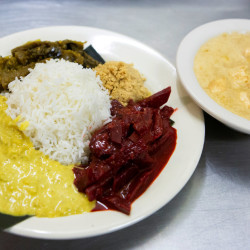 The rice and curry meal is seen at Serendib in Ellsworth on Wednesday. The Sri Lankan restaurant opened last fall.