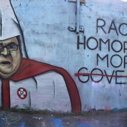 Someone painted a mural in Portland depicting LePage as a Klansman, and it's already been changed