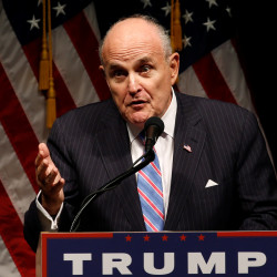 Former New York City Mayor Rudy Giuliani delivers remarks before Republican presidential nominee Donald Trump rallies with supporters in Council Bluff, Iowa, Sept. 28, 2016.
