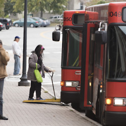 Passengers wait at the bus terminal in Pickering Square in downtown Bangor on Monday afternoon.