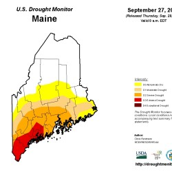 The National Drought Mitigation Center last week raised the class of drought conditions across much of central Maine, placing much of the state into severe and moderate drought conditions.