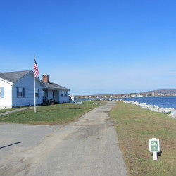 Owls Head maintained that it has an easement along this paved area parallel to the shore, which can be seen in Owls Head in October 2014. The U.S. Supreme Court denied a petition by the New York couple, which claimed the paved area was their driveway, to have the high court hear their appeal of a Maine supreme court decision issued in December 2015.