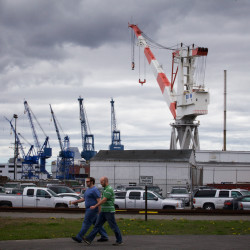 Bath Iron Works' largest crane towers over the shipyard in Bath in this May 2015 file photo.