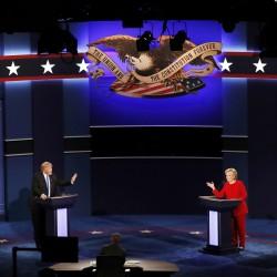 Republican U.S. presidential nominee Donald Trump and Democratic U.S. presidential nominee Hillary Clinton speak during their first presidential debate on Sept. 26 at Hofstra University in Hempstead, New York.