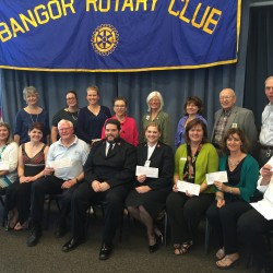 In 2016 the Rotary Club of Bangor presented checks to eight area nonprofits. The proceeds from the 2017 Music Off Broadway performances will be distributed in June 2017.