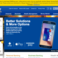 Screen shot of Bangor Savings Bank website.