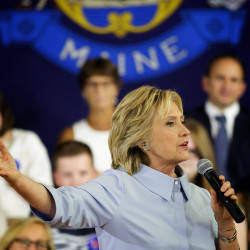 Democratic presidential candidate Hillary Clinton speaks to supporters in Portland in September 2015.