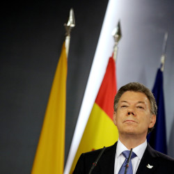 Colombia's President Juan Manuel Santos attends a joint news conference in Madrid, March 3, 2015.