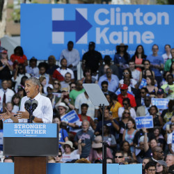 President Barack Obama speaks in support of Hillary Clinton's candidacy for president on Tuesday, Sept. 13, 2016, at Eakins Oval in Philadelphia, Pennsylvania.