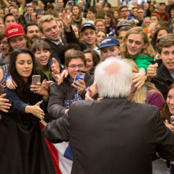 Vermont Sen. Bernie Sanders shakes hands with people from a crowd of about 800 at the Cross Insurance Center in Bangor on Friday to vote for Hillary Clinton for president next month.