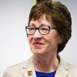 U.S. Sen. Susan Collins listens to U.S. Labor Department Secretary Thomas Perez during a press conference in Portland, May 27, 2015.