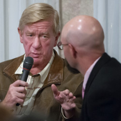 BANGOR, MAINE -- 10/08/2016 - Libertarian Vice Presidential candidate William Weld (left) answers a question during a town hall meeting at Spectacular Events Center in Bangor Saturday.