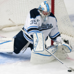ORONO, MAINE -- 10/07/2016 - University of Maine's Rob McGovern makes a save against Rensselaer Polytechnic Institute on Friday, Oct. 7 at Alfond Arena in Orono. McGovern's 39 saves on Saturday helped UMaine beat RPI for the second straight day.
