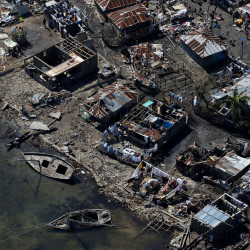 Destroyed houses are seen after Hurricane Matthew passes in Corail, Haiti, on Saturday.