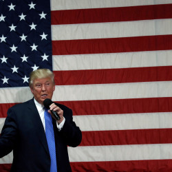 Republican presidential nominee Donald Trump speaks at a campaign town hall event in Sandown, New Hampshire, on Oct. 6