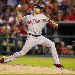 Boston Red Sox relief pitcher Joe Kelly pitches against the Cleveland Indians in the seventh inning during game two of the 2016 ALDS playoff baseball series on Friday at Progressive Field in Cleveland, Oho.