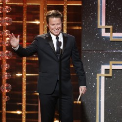 Billy Bush presents the award for outstanding supporting actor in a drama series during the 41st Annual Daytime Emmy Awards in Beverly Hills, California, June 22, 2014.