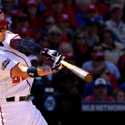 ashington Nationals' Jose Lobaton hits a three-run home run against Los Angeles Dodgers pitcher Rich Hill in the fourth inning in Game 2 of the NLDS on Sunday, Oct. 9, 2016, at Nationals Park in Washington, D.C.
