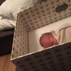 A baby sleeps in a Finnish-style baby box. Health officials say baby boxes reduce bed sharing, which is a leading cause of Sudden Unexpected Infant Death Syndrome.  Share — copy and redistribute the material in any medium or format Adapt — remix, transform, and build upon the material for any purpose, even commercially. The licensor cannot revoke these freedoms as long as you follow the license.